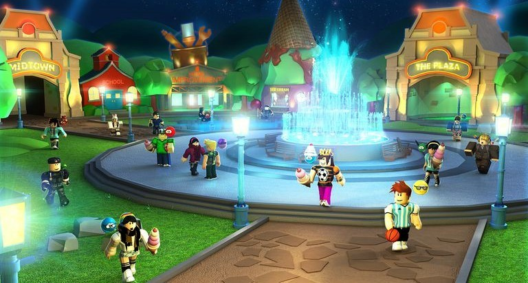 Screenshot of Roblox characters mill about a brightly colored plaza